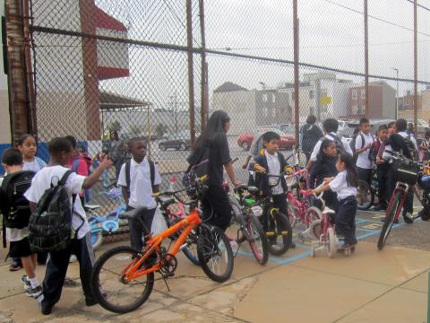 George Washington Elementary School was one of five schools on 5th and 6th streets to host Walk and Roll to School days this week.