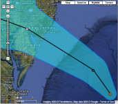 From NOAA: Coastal Watches/Warnings and 5-Day Track Forecast Cone Hurricane SANDY Advisory #028A, 8am on October 29