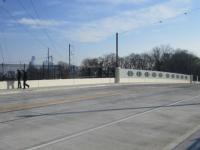 From the newly opened 40th Street Bridge cars and pedestrians can see Philadelphia's skyline
