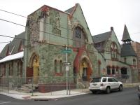 The church at 1253 S. 19th St. is an outstanding example of Furness & Hewitt design, with a distinctive serpentine façade.