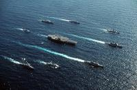 The USS Forrestal with battle group in 1989.