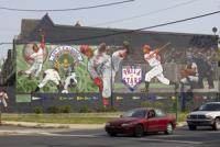 A mural commemorates the 44th and Parkside Ballpark where the historic Philadelphia Stars once played.