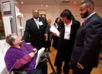 Members of City Council talk to visitability advocate Eleanor Smith during an October charrette