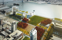 Illustrative rendering showing Penn's Landing Park and new development at the end of Market Street