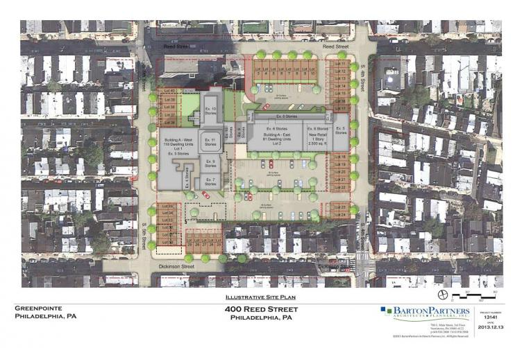 Illustrative site plan for 4th and Reed