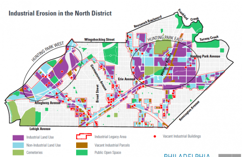 Industrial erosion in the North District, from the preliminary draft of North District Plan