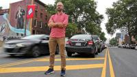 Jake Liefer and his PAC, 5th Square, are suing to stop parking in the median on South Broad Street. (Emma Lee/WHYY)