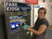 Just one of many riders who accidentally ordered multiple SEPTA Keys, Olivia Duffy with her four cards.