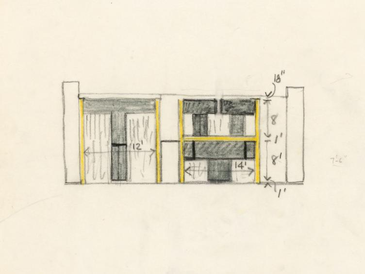 Kahn's Sketch of the Esherick House in Chestnut Hill. Louis I. Kahn Collection, University of Pennsylvania and the Pennsylvania Historical and Museum Commission.​