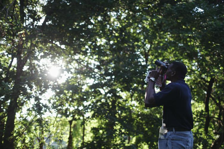 Keith Russell has been birding at the reservoir since he was 16. | Neal Santos for PlanPhilly