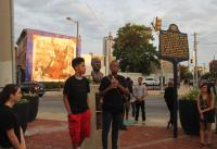 Mixplace Studio students spoke at the historic spot Dr. Martin Luther King, Jr. led the Freedom Now Rally