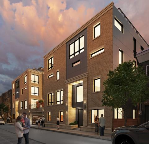 A rendering of the 10-townhouse development proposed for  706-724 Latona St. ( credit: Maxwell Bassman)
