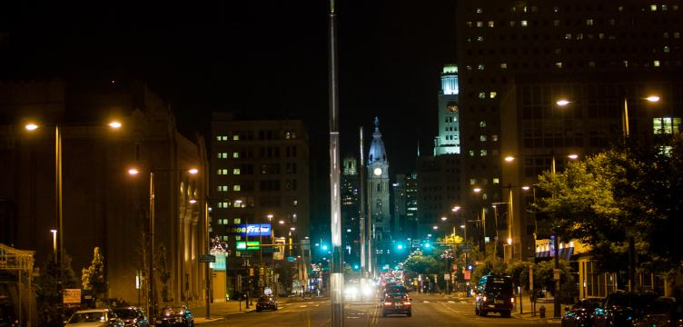 Light masts on North Broad (Brad Larrison for NewsWorks)