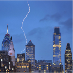 Lightning striking the skyline