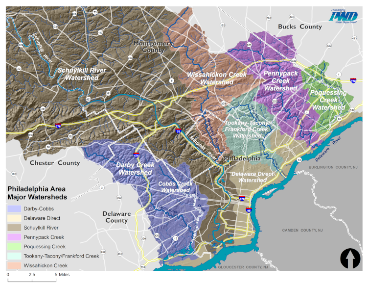 Map of Philadelphia's Watersheds. Credit: Philadelphia Water Department.