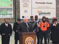 Mayor Jim Kenney at the first groundbreaking of his signature Rebuild initiative.