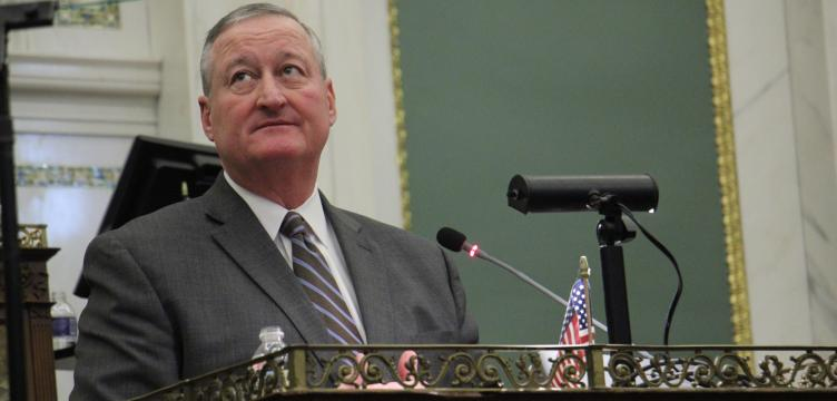 Mayor Kenney speaks at annual budget address. Credit: Emma Lee/WHYY