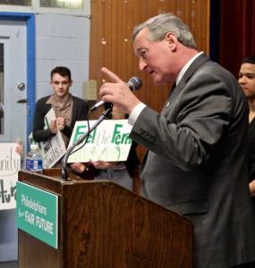 Mayor Kenney says says income from the sugary drink tax will support schools and community centers in the city, March 2016 | Emma Lee / WHYY