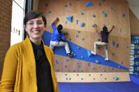 Meghan Talarowski of Studio Ludo designed the climbing wall at the Cecil B. Moore library with the idea that children need