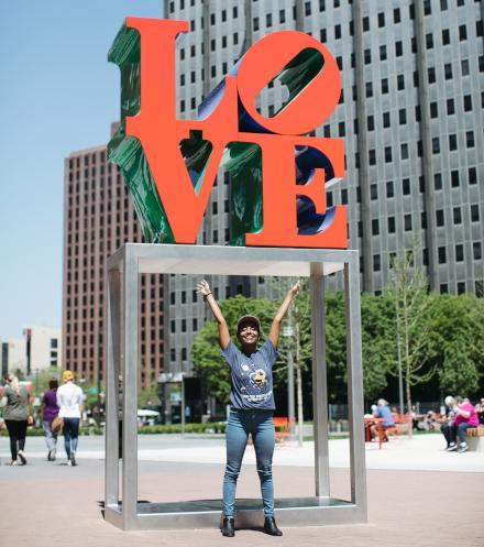 Melat Hagos wanted to see LOVE Park on her first visit to Philly. May 7, 2018 / Neal Santos for PlanPhilly
