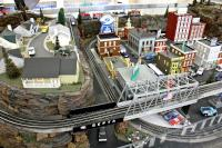 Model train displays on display at SEPTA's gift shop. (Emma Lee/WHYY)