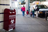 Needle drop boxes have been installed at SEPTA stations in Kensington. (Kimberly Paynter/WHYY)