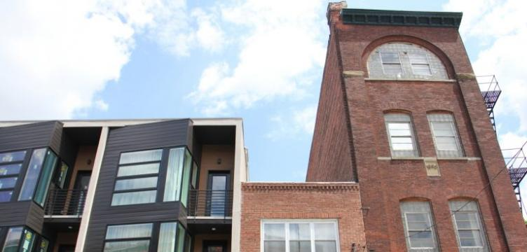 New houses abut old in Northern Liberties, one of the city's fastest gentrifying areas.