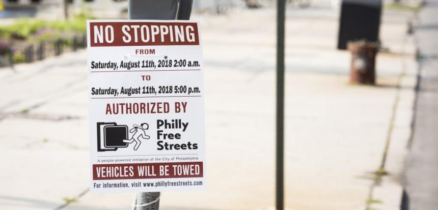 NO STOPPING: A sign on a parking meter advertises that there will be no stopping in honor of Philly Free Streets