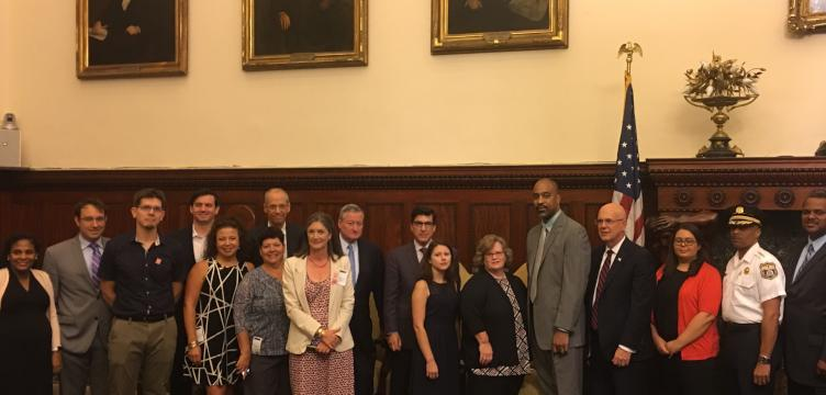 Mayor Jim Kenney poses with the Vision Zero Task Force. Not pictured: A single member of City Council
