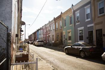 On this block of Waterloo Street in Kensington, the DA attempted to seize nearly one quarter of the properties between 2011 and 2015. (Kim Paynter/WHYY)