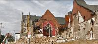 Permits have been filed to build apartments on the sit of this partially demolished church.