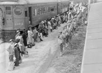 Persons of Japanese ancestry arrive at the assembly center located at the Santa Anita Racetrack in Arcadia, California, in 1942 | National Archives and Records Administration