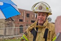 Philadelphia fire commissioner Adam Thiel at The Original Apostolic Faith Church of the Lord Jesus Christ in North Philadelphia in March of 2018.