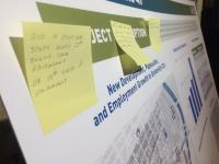 Poster board with resident comments on sticky pads at Route 49 open house