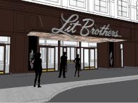 Proposal for new entry signage on Lit Brothers building | Brickstone Realty