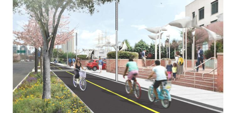Rendering of DRWC's proposed bike trail in front of the Residences at Dockside