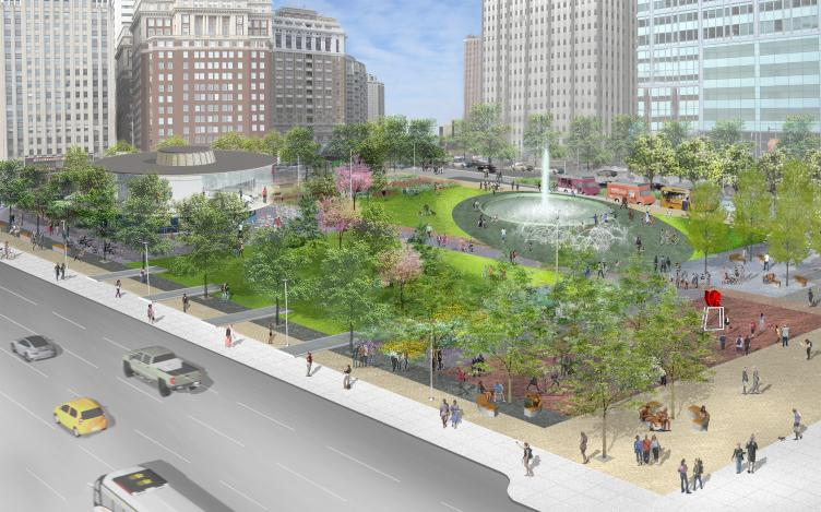 Rendering of LOVE Park / JFK Plaza from City Hall, October 2015 | Hargreaves