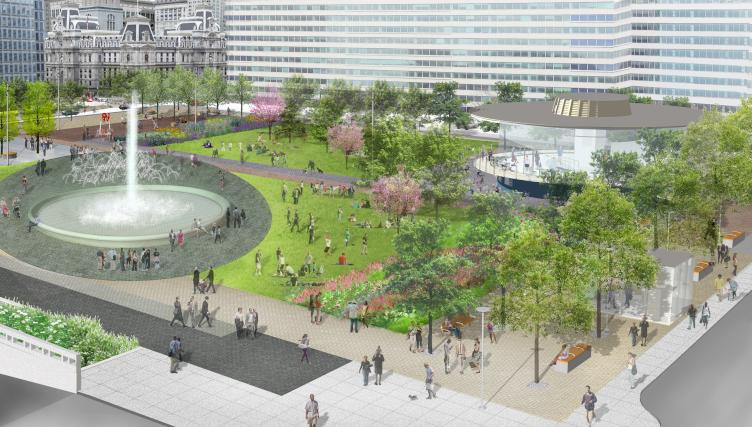 Rendering of LOVE Park / JFK Plaza from Parkway, October 2015 | Hargreaves