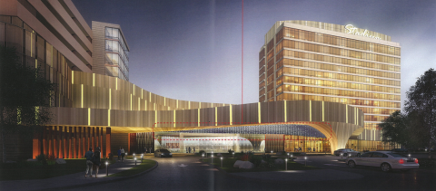 Rendering of the Live! Hotel and Casino featuring light sculpture by artist Chul-Hyun Anh