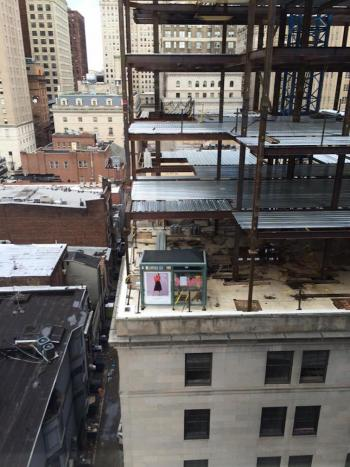 Rooftop bus stop from neighboring building, courtesy of Sylvia Palms of Locus Partners