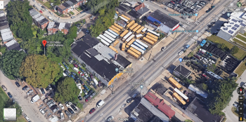 An aerial photograph of Amanda Dobbs' block shows  the movement of auto-related businesses into the neighborhood. (Google/ PlanPhlly)