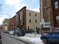 rowhouses that replaced St. Boniface church on Diamond Street