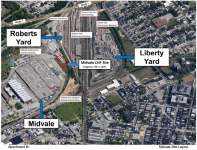 Satellite photo showing proposed Midvale CHP site in relation to other SEPTA facilities