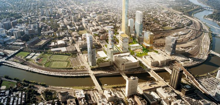 Conceptual rendering of Schuylkill Yards, a site being put forth for Amazon's second headquarters