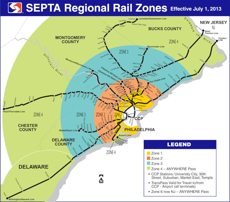 SEPTA Regional Rail Zones