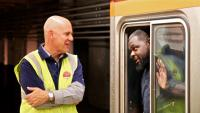 SEPTA general manager Jeffrey Knueppel speaks to conductor Gary Brown in 2017.  (SEPTA)