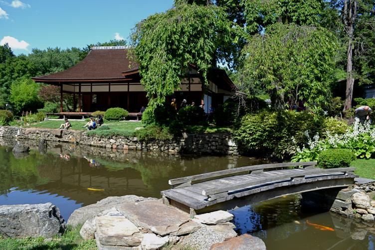 Shofuso house, koi pond and island bridge at the Shofuso Japanese House and Garden
