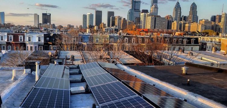 City officials hope Philly will be 100 percent reliant on renewable energy by 2050. Rooftop solar panels, pictured here, will help the city reach its goal.