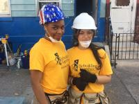 Summer Parham, 16, and Juanita Marrero, 15, are in the Construction program at A. Philip Randolph Career and Technical High School | Catalina Jaramillo / PlanPhilly