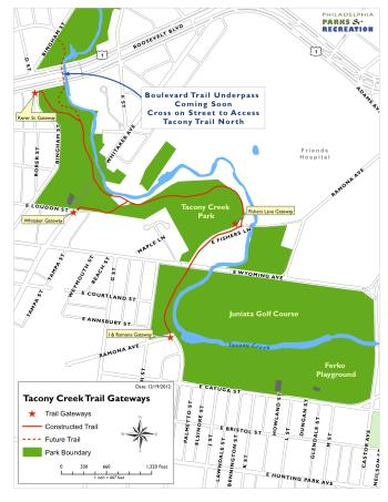 Tacony Creek Trail and the four public gateways, Map courtesy of Philadelphia Parks & Recreation